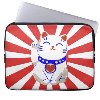Lucky cute neko cat on rising sun laptop sleeves