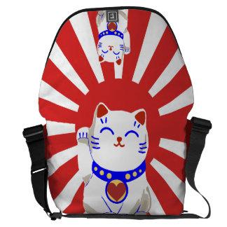 Lucky cute neko cat on rising sun courier bag
