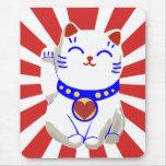 Lucky cute neko cat on rising sun mouse pad