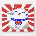 Lucky cute neko cat on rising sun mousepad