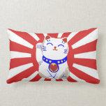 Lucky cute neko cat on rising sun pillow