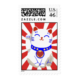 Lucky cute neko cat on rising sun postage