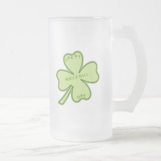 Lucky Day Bocce Ball Frosted Glass Beer Mug