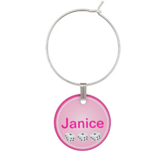 Lucky Dice Personalized Wine Charm