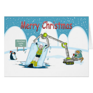 lucky Dip funny diving Merry christmas card