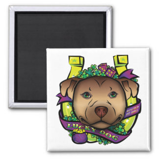 Lucky Dog 2 Inch Square Magnet