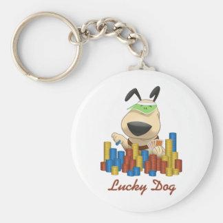 Lucky Dog Basic Round Button Keychain