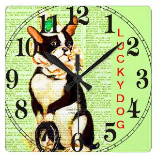 LUCKY DOG CLOCK - VINTAGE BOSTON BULL W HORSHOE