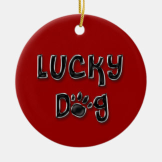 Lucky Dog Paw Print Ornament