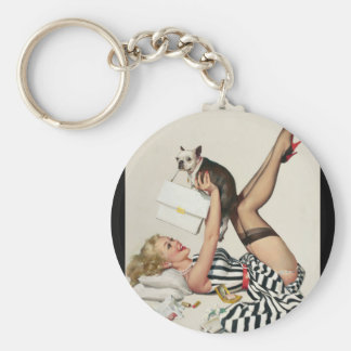 Lucky Dog Pin Up Art Keychain