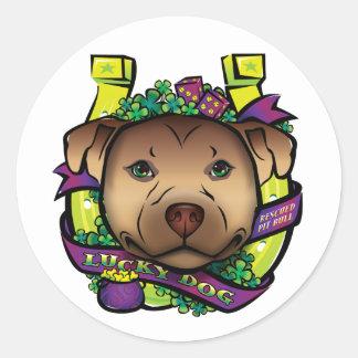 Lucky Dog Round Stickers