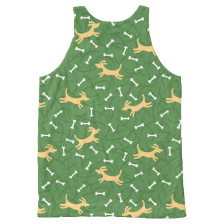 lucky dogs with bones background All-Over-Print tank top