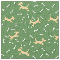 lucky dogs with bones background fabric