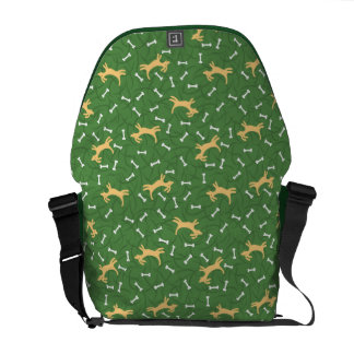 lucky dogs with bones background messenger bag