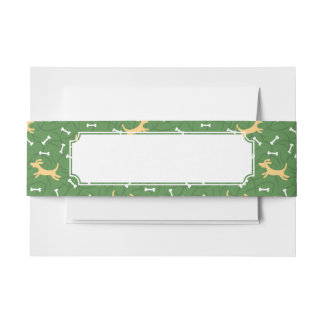 lucky dogs with bones background invitation belly band