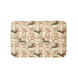 lucky dogs with sausages background bathroom mat