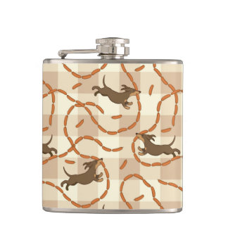 lucky dogs with sausages background flask