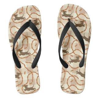 lucky dogs with sausages background flip flops