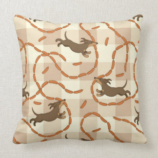 lucky dogs with sausages background pillow