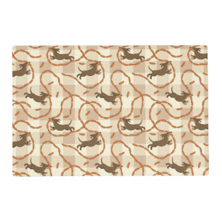 lucky dogs with sausages background placemat