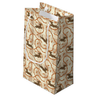 lucky dogs with sausages background small gift bag
