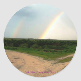 Lucky Double Rainbow at Crossroads Classic Round Sticker
