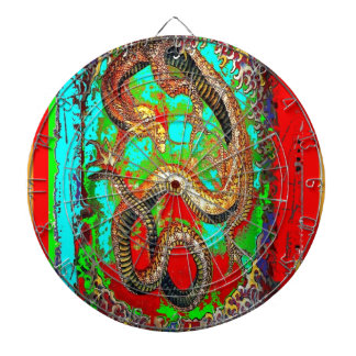 Lucky Dragon Good Luck Design by Sharles Dartboard With Darts