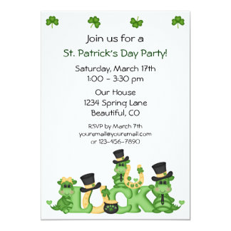 Lucky Dragons St Patrick's Day Party Invitation