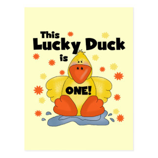Lucky Duck 1st Birthday  T-shirts and Gifts Postcard