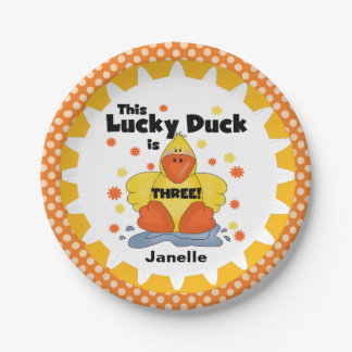 Lucky Duck 3rd Birthday Paper Plates