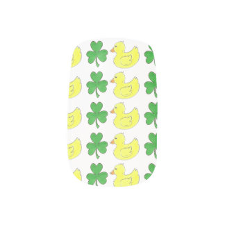 Lucky Duck Green Shamrock Rubber Ducky Duckie Nail Minx Nail Wraps