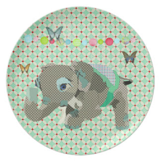 Lucky Elephant Green Vintage Plate