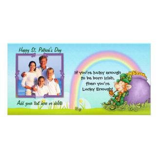 Lucky Enough Leprechaun - Customize and Add Photo Photo Card