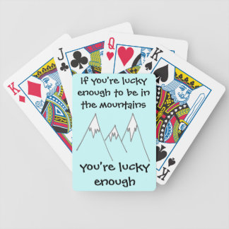 Lucky enough to be in mountains bicycle playing cards