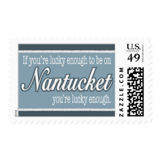 Lucky Enough to be on Nantucket in Denim Blue Postage Stamps