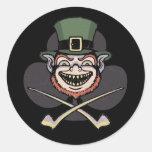 Lucky Evil Leprechaun Round Stickers