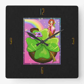 Lucky Faery & Dragon Square Wall Clock