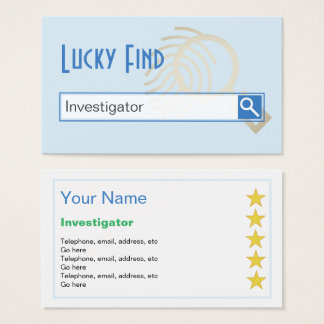 """""""Lucky Find"""" Investigator Business Cards"""
