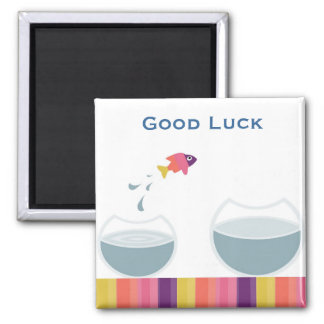 Lucky Fish 2 Inch Square Magnet