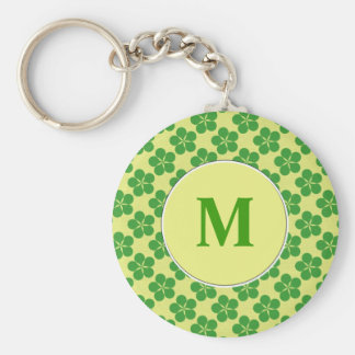 Lucky Five Leaf Clovers Basic Round Button Keychain