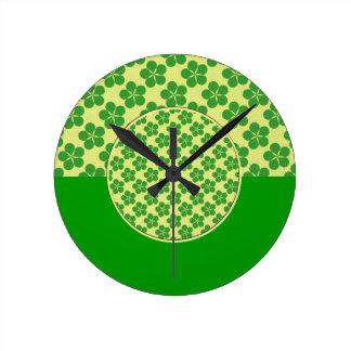 Lucky Five Leaf Clovers Round Clocks