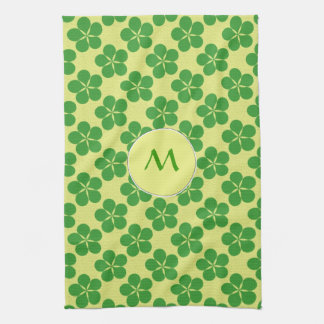 Lucky Five Leaf Clovers Hand Towels