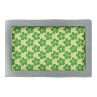 Lucky Five Leaf Clovers Rectangular Belt Buckle
