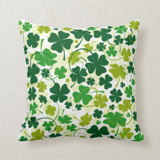Lucky Floral Clovers Throw Pillow