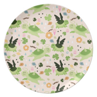 Lucky Flying Turtles Pattern Party Plates