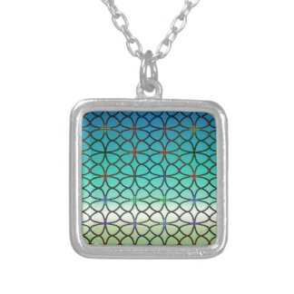 Lucky Four Leaf Clover Blue Green White Rainbow Silver Plated Necklace