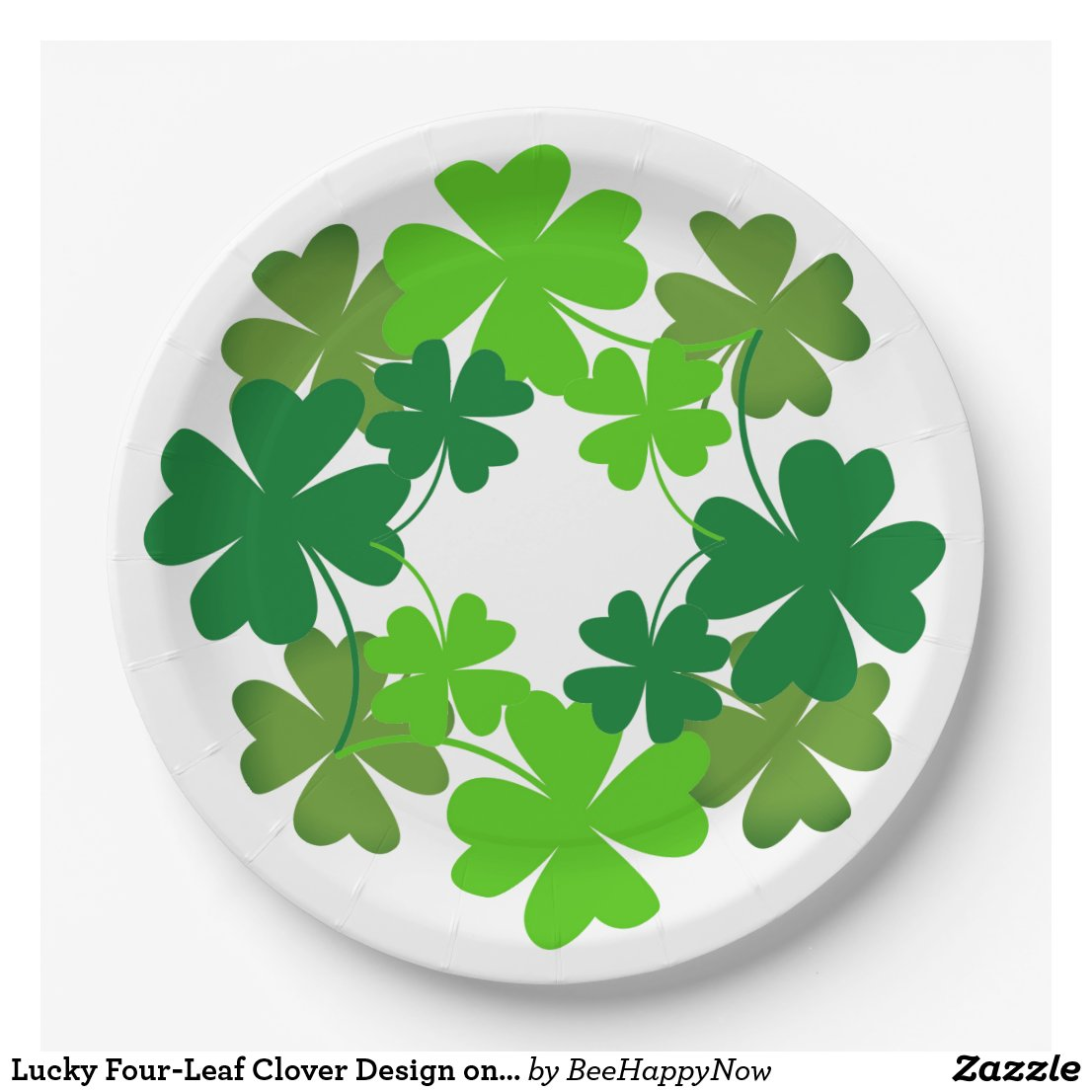 Lucky Four-Leaf Clover Design on Paper Plates