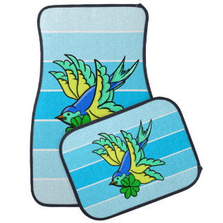 Lucky Four Leaf Clover Flying Bird Car Floor Mat