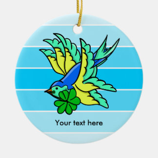 Lucky Four Leaf Clover Flying Bird Ceramic Ornament