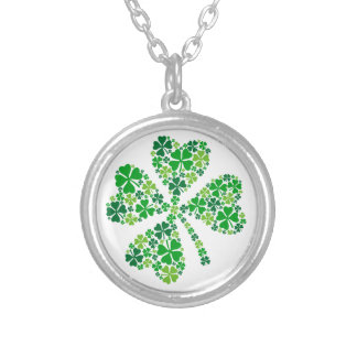 lucky four-leaf clover, green shamrock leaves round pendant necklace